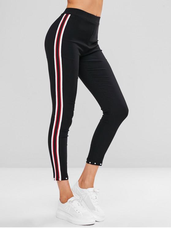 Pantalon Perlé à Rayure Latérale - Noir XL