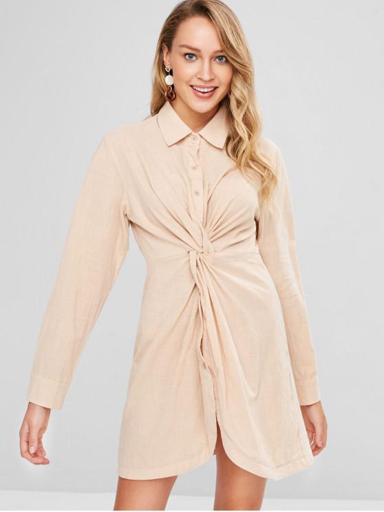 fashion Twist Shirt Dress - CORNSILK M
