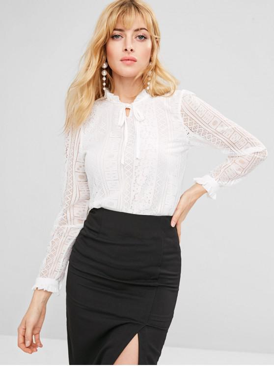 hot Frilled Tie Neck Lace Blouse - WHITE M