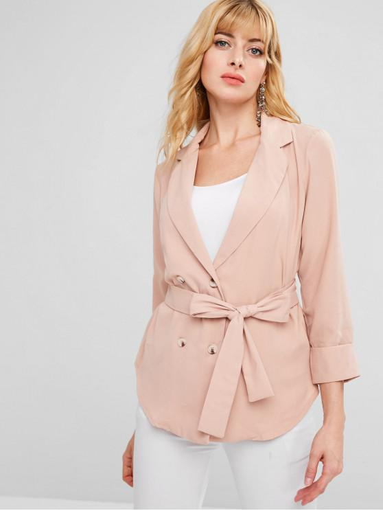 ladies ZAFUL Belted Single Breasted Blazer - ORANGE PINK XL