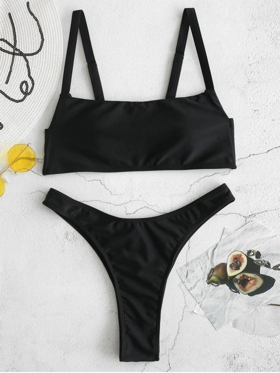 unique ZAFUL High Cut Bikini Set - BLACK L
