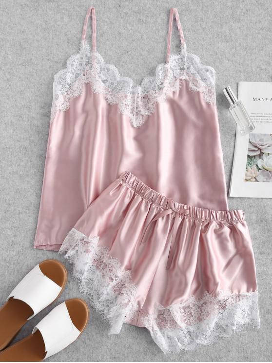fancy Contrast Lace Satin Cami Pajama Set - PINK L