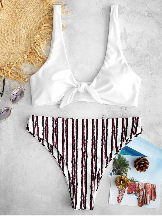 online ZAFUL Tie Striped High Waisted Bikini Set - WHITE L