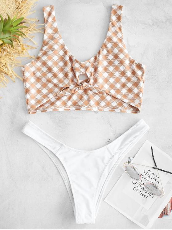 affordable ZAFUL Checked Knot Tank Bikini Set - WHITE L