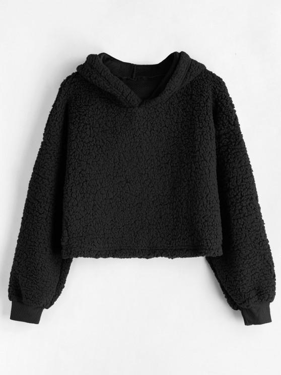 affordable Drop Shoulder Fluffy Boxy Hoodie - BLACK M