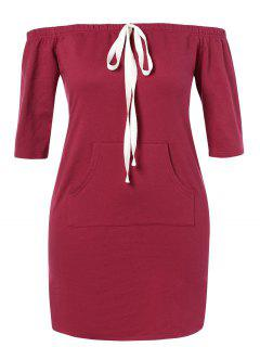 ZAFUL Plus Size Off Shoulder Pocket Dress - Red Wine L