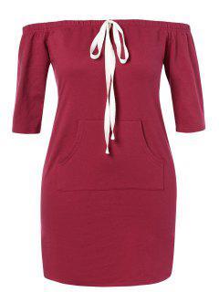 ZAFUL Plus Size Off Shoulder Pocket Dress - Red Wine 2x
