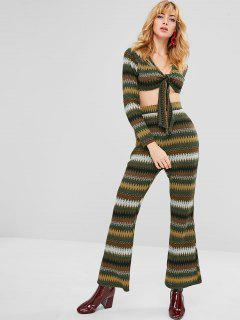 ZAFUL Zigzag Knotted Top And Pants Set - Multi L