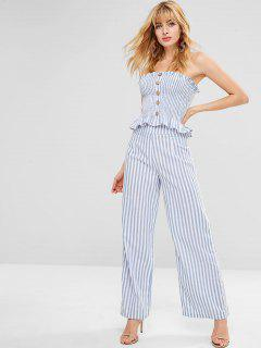 ZAFUL Buttons Striped Top And Pants Set - Light Blue M