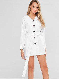 Belted Casual Button Up Dress - White