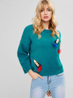 Pull Fourré Avec Poche Jointive - Turquoise Moyenne