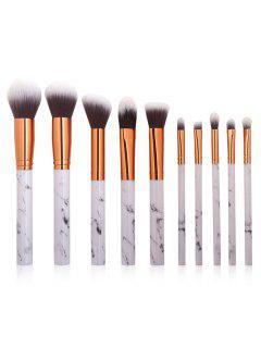 10Pcs Marbles Handles Eyeshadow Blush Powder Foundation Brush Collections - Platinum