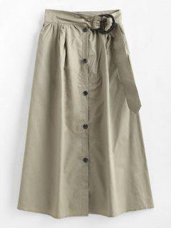 O Ring Buckle Midi Poplin Skirt - Khaki M