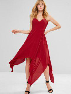 Backless Criss Cross Handkerchief Dress - Red S