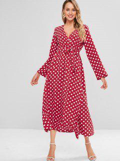 Polka Dot Surplice Long Sleeve Slit Dress - Red Xl