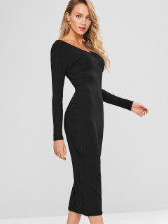 Long Sleeve Midi Bodycon Dress - Black S