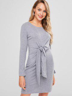 Long Sleeve Knot Shift Tee Dress - Gray Xl