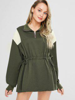 Contrast Panels Drawstring Sweatshirt Dress - Army Green
