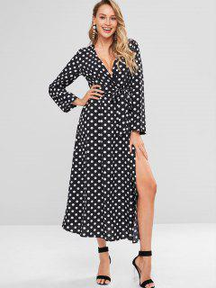 Polka Dot Surplice Long Sleeve Slit Dress - Black L