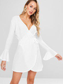Flare Sleeve Surplice Knitted Dress - White L