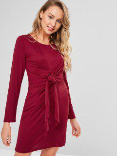 Langarm Knot Shift Tee Kleid - Roter Wein S