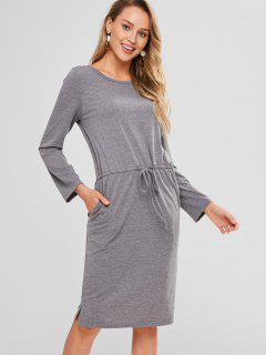 Long Sleeve Drawstring Tee Shift Dress - Gray M