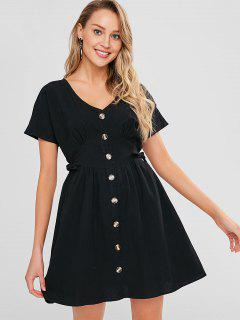 Pleated-detail Knot Button Down Dress - Black L