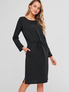 Long Sleeve Drawstring Tee Shift Dress - Black M
