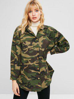 Manteau Long Camouflage Avec Poche - Camouflage Des Bois