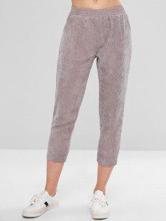 Pocket Capri Corduroy Pants - Gray Xl