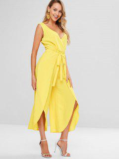 Surplice Slit Wide Leg Jumpsuit - Sun Yellow S