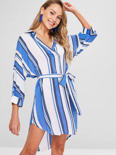 Belt Striped Shirt Dress - Multi M