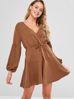 Drawstring Waist Mini Surplice Dress - Brown M