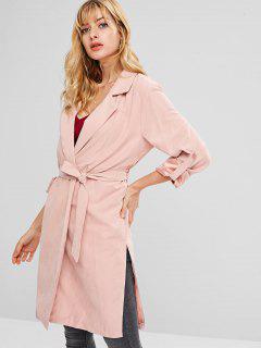 Knee Length Slit Belted Coat - Pink M