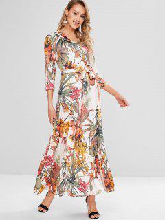 Plant Print Maxi Surplice Dress - Multi L