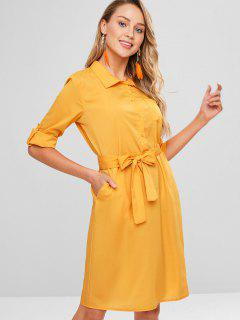 Belted Long Sleeve Shirt Shift Dress - Bee Yellow M