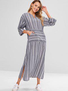 Striped Notched Collar Maxi Dress - Dark Gray L