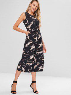 Crane Print Wide Leg Culotte Jumpsuit - Black S