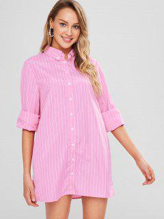 Stripe Long Sleeve Shirt Dress - Pink L