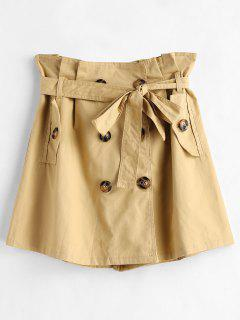 Button Through Paper Bag Mini Skirt - Sand M