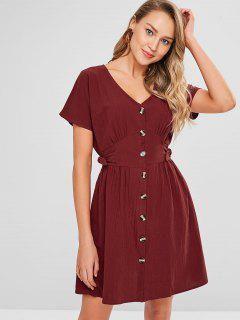 Pleated-detail Knot Button Down Dress - Red Wine M