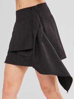 Asymmetrical Cascading Ruffles Mini Skirt - Black S