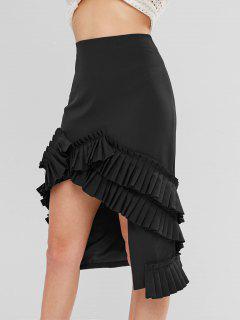 Pleat Trim High Low Skirt - Black L