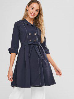 Belted Rolled Longline Trench Coat - Cadetblue M