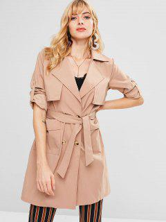 Pockets Belted Trench Coat - Tan