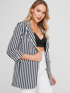 Striped Lapel Tunic Blazer - Black M