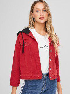 Frayed Hooded Jean Jacket - Red