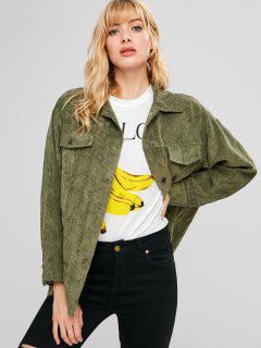 Corduroy Oversized Tunic Shirt Jacket - Army Green L