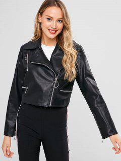 Faux Leather Zippers Biker Jacket - Black M