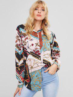 Mixed Print Oversized Tunic Blouse - Multi L